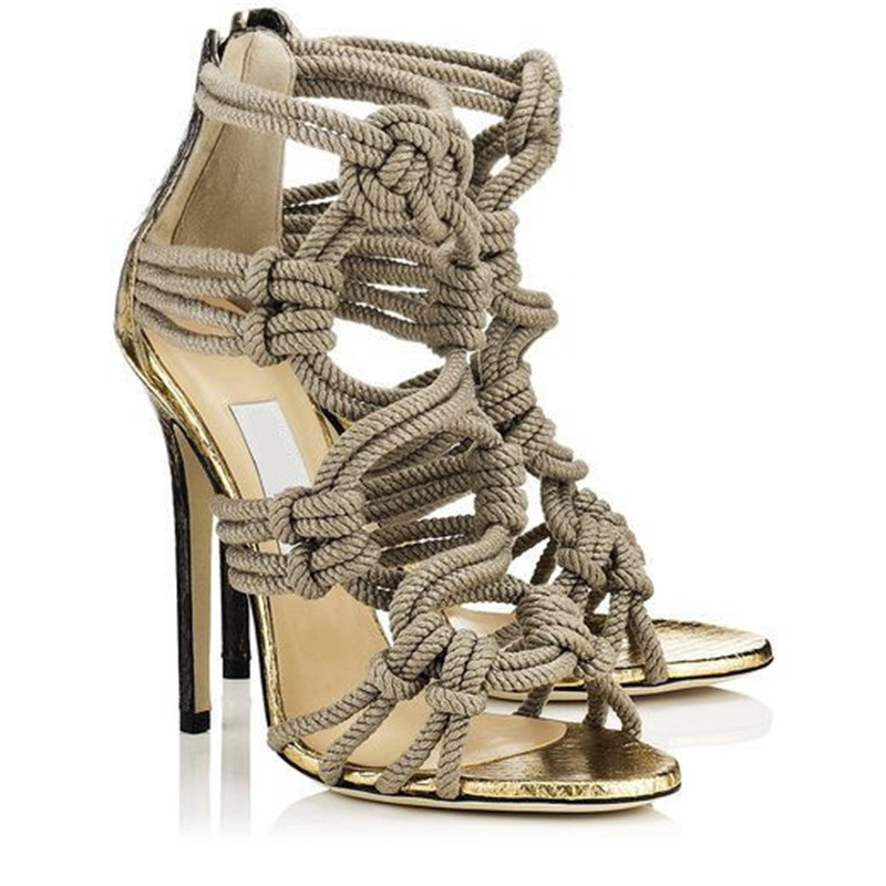 Fashion Braided Rope High Heels Women Sandals 2017 Cut Outs Cage Gladiator Sandals Women Boots Shoes Woman Botas Sandalias Mujer new stretch fabric knee high boots open toe cut outs women boots shoes woman high heels gladiator sandals women boot botas mujer