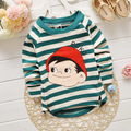 Fast Shipping 2016 Summer Style Cartoon Funny striped long Sleeve T Shirt Tees Clothes for Boy girl Children t shirts