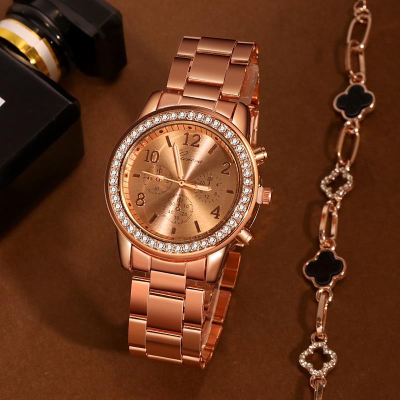 Women's Geneva Classic Bracelet Watches Luxury Watch Women Watches Rose Gold Women's Watches Clock Reloj Mujer Relogio Feminino