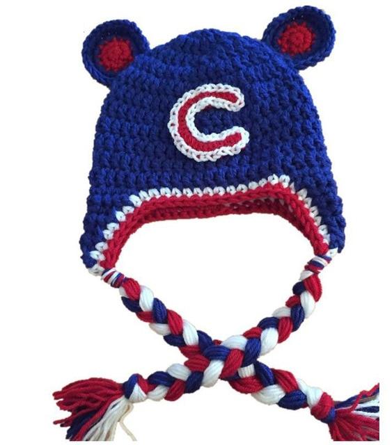 044592f42c72cc Chicago Cubs Hat Knitted Crochet Baby Boys Girls Baseball Team Cap Children Beanie  Winter Animal Hat Newborn Toddler Photo props