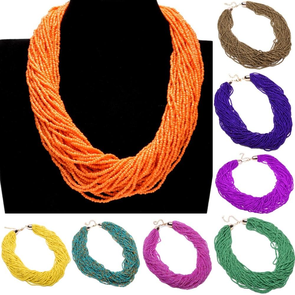 מכירת חמה משלוח חינם אופנה אירופאית ואמריקאית בוהמיה בעבודת יד 40 שכבות חרוזים שרשראות ותליונים choker Jewerly