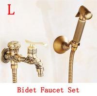 Brass handheld bidet shower set, Antique bathroom wall mounted bidet spray set, Copper toilet flushing device suit vintage