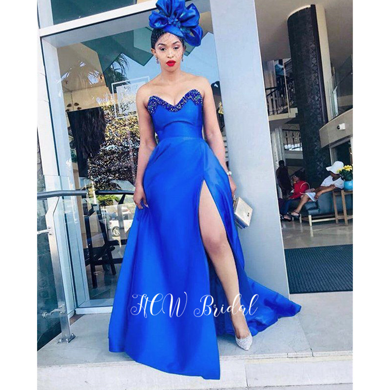 Newest 2019 Royal Blue Long Gorgeous   Evening     Dresses   Exquisite Beading Sweetheart High Slit A Line African Women Party   Dress