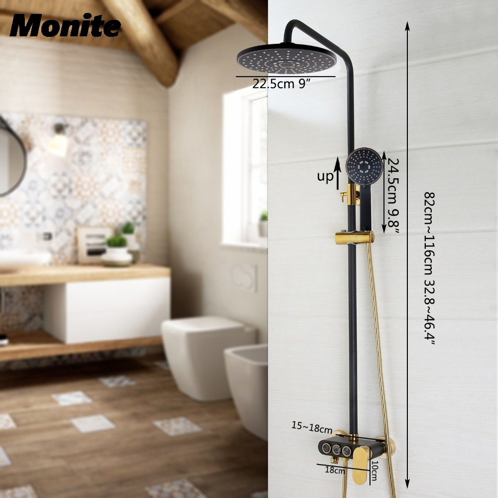 Bathroom Luxury Rain Mixer Shower Combo Set Wall Mounted Rainfall Shower Head System Black Gold-plated Shower Faucet gappo classic chrome bathroom shower faucet bath faucet mixer tap with hand shower head set wall mounted g3260