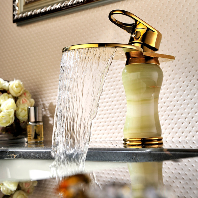 ФОТО Waterfall sink tap bathroom faucets water tap golden waterfall bathroom bowlder tap jade faucet SD-L-002A