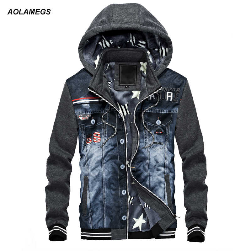 Aolamegs 男性パーカー暖かいフリースファッションデニムパッチワーク生き抜くヒップホップフード付きスウェットジャケットユースパーカーストリート