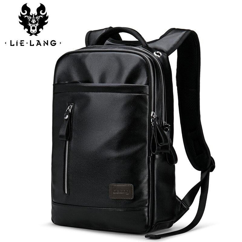 LIELANG Leather Backpack men Fashion School Bags For Teenager Men Laptop mens Backpacks Bag Waterproof backpack