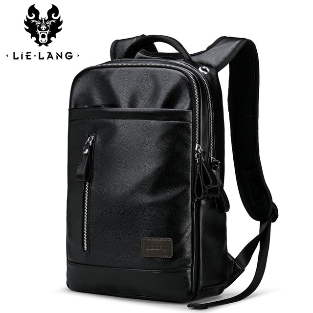 a83953651be LIELANG Leather Backpack Fashion School Bags For Teenager Men Laptop mens  Backpacks Bag Waterproof backpack Computer