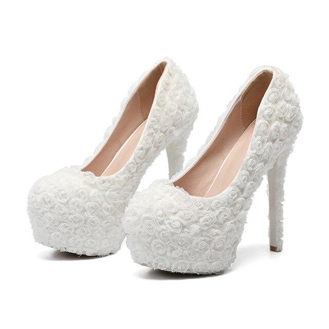 faac0a7e1b3 Women Shoes Wedding Bride Pumps Lace Flowers Large Waterproof Platform  Bridesmaids 34-43 Big Size 11 14cm High Heels