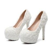 Women Shoes Wedding Bride Pumps Lace Flowers Large Waterproof Platform Bridesmaids 34 43 Big Size 11 14cm High Heels