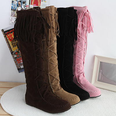2014 Special New Korean Tassels Boots Knee High Boots Flat Heel Boots Plus Size 35-43 Em4862