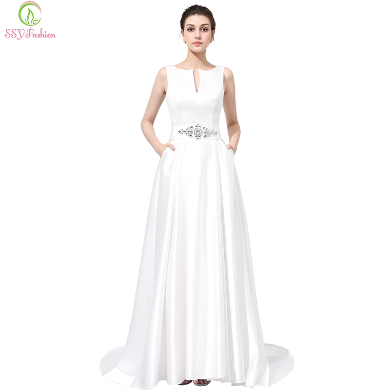 SSYFashion Braut Luxus White Satin Langes Abendkleid Reizvolle ...