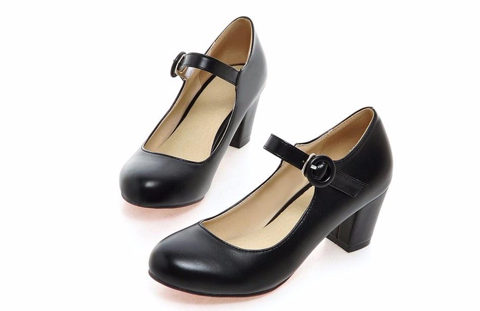 Meotina Women Shoes Mary Jane Ladies High Heels White