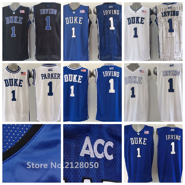 636a7962991 Men s  1 Kyrie Irving Duke Blue Devils White Black Blue Cheap College  Basketball Jerseys 100% Stitched Top Quality