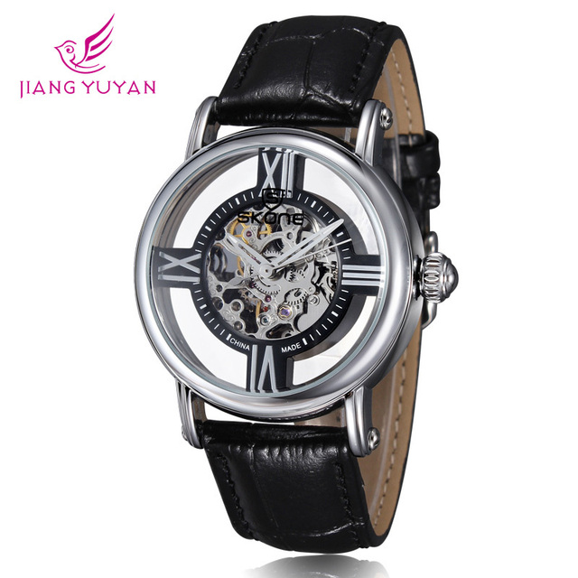 2015 Luxury Brand Skone Watches Waterproof Skeleton Women Watch Genuine Leather Mechanical