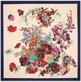 100x100cm 100% Silk Twill Scarf Women Scarf Butterfly floral pattern spring models NeckerChief Bandana Large Square Scarf