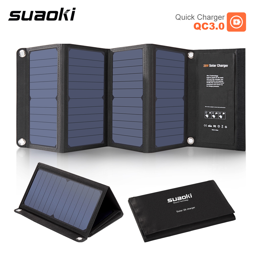 28W 5V Solar Charger Fast Charging 3 USB Port for Mobile Phone Waterproof