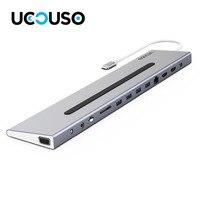 UCOUSO UCD01 14 in1 алюминия C USB Hub Док 2*4 К HDMI, 4 К MINI DP, 2 К VGA, 4 * USB 3,0, RJ45, аудио PD порт вход постоянного тока Card reader Hub