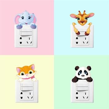 Cute Animals Elephant Cat Panda Giraffe Light Switch Sticker Removable Wall for Kids Baby Nursery Home Decal Mural Decor 1