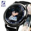 Detective Conan relógio MARCA mew Xingyunshi homens relógio De Couro relógio digital esportes relógio de pulso LED Militar Relógios de Pulso Relogio