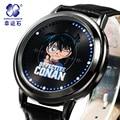 Detective Conan reloj MARCA mew Xingyunshi reloj de Cuero de los hombres reloj deportivo reloj de pulsera digital LED Reloj Militar Relojes Relogio