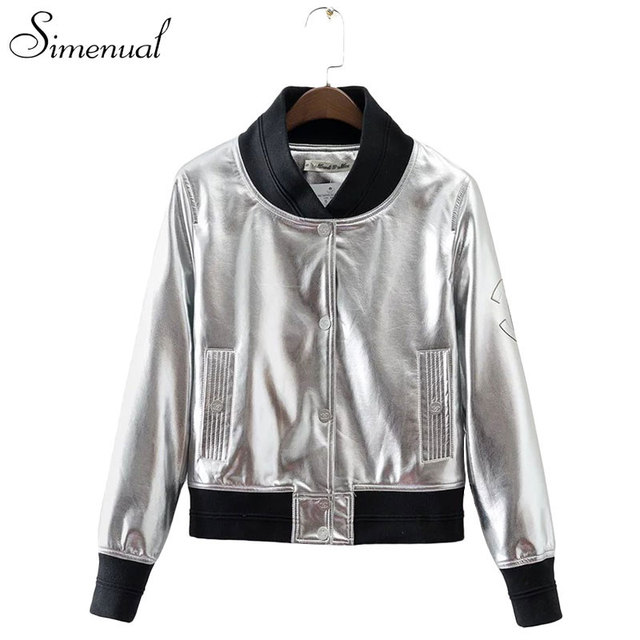PU leather 2017 female jacket metallic silver short coat fashion new slim women jackets coats autumn winter clothing outwear hot
