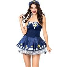 da2318d387 Azul y blanco Anime uniforme de la Marina de las mujeres Sexy marinero  disfraz adulto disfraces