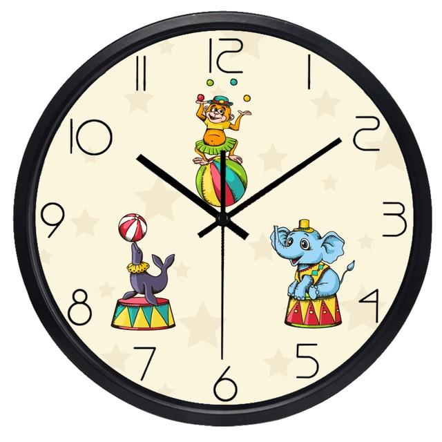 Ludique Cirque Horloge Murale Pour Chambre D Enfants Couvercle En