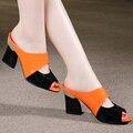 2016 novas mulheres sandálias & chinelos genuína strass couro grosso-salto alto decoração do bloco da cor do dedo do pé aberto sandálias das mulheres
