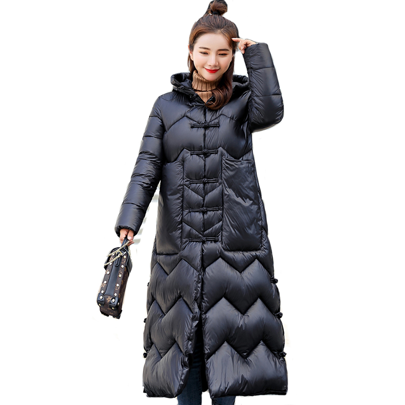 2019 New Chinese Style Winter Women Jacket Stand Collar Warm Thicken Female Coat X-Long   Parka   Womens Outwear High Quality