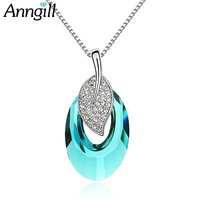 Brand Design Leaves Necklaces & Pendants Crystal From Swarovski Ladies Necklaces Fashion Women Jewelry Personalized Bijoux Femme