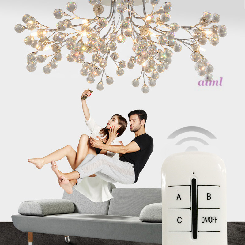 European round living room crystal lamps American style creative restaurant lamps modern minimalist led ceiling lamp bedroom creative round ceiling led lamp bedroom lamp modern minimalist living room dining lamps