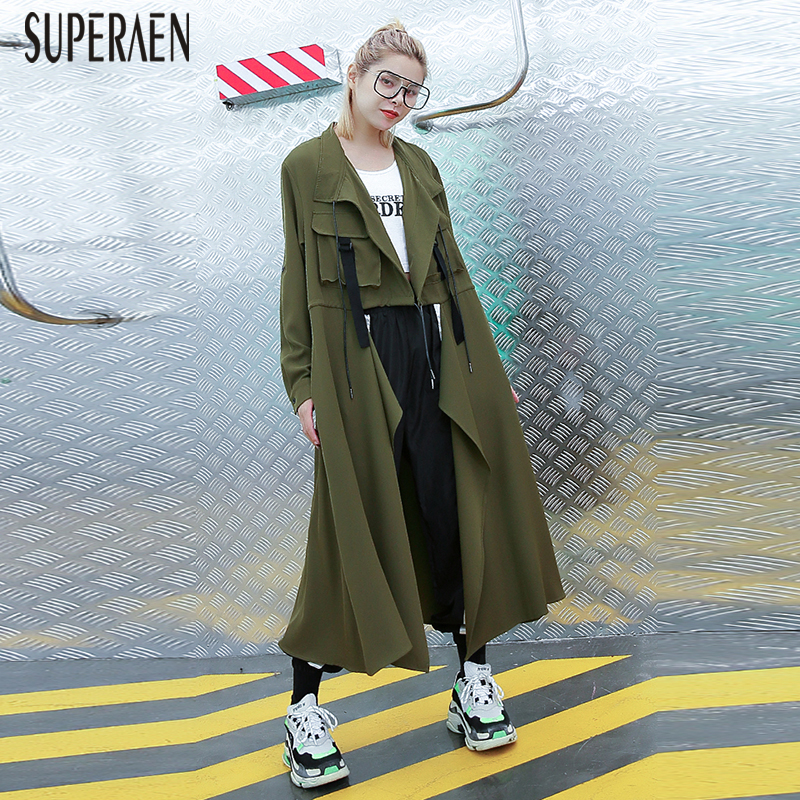 SuperAen Pluz Size   Trench   Coat for Women Spring and Summer New 2019 Solid Color Ladies Windbreaker Solid Color Women Clothing