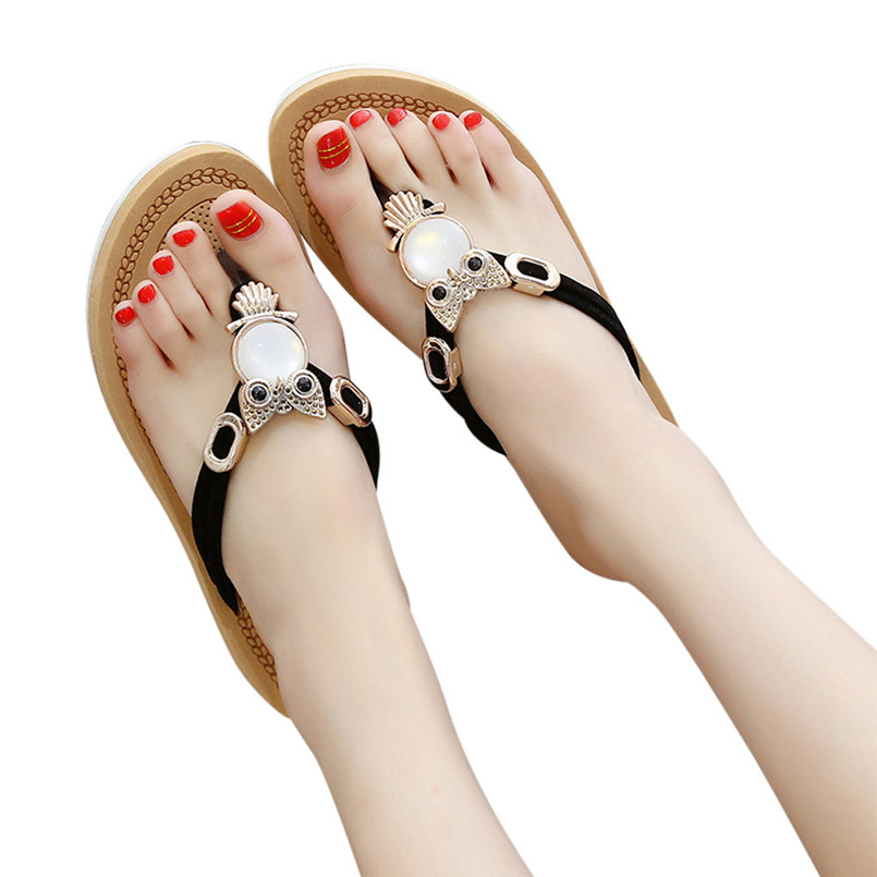 Chaussures Chaussons Sandales D'été Plates Cristal Plage Bohème Femmes Bohême Solide Un Mocassins Décontractés Rouge De Tongs rose noir Beige Hxw1xq0nP