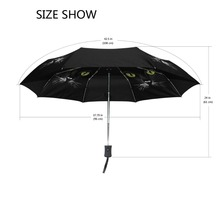 Three Folding Automatic Black Cat Rain Gear Umbrella SF