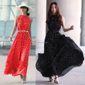 Fashion 2017 Ruiyige Women Summer Boho Long Casual Beach Polka Dot Chiffon Dress Lady Girl Sexy Halter Sleeveless Sundress 3315