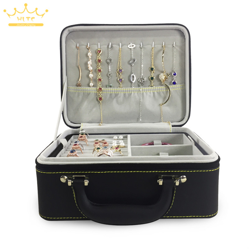 1pc PU Leather Double Jewellery With Zipper Storage Box Multilayer Earrings Necklace Bracelet Ring Storage Jewelry Box