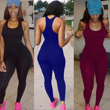 2018 Backless Slim Rompers Sexy Women leggings Jumpsuits Fitness Set One Piece