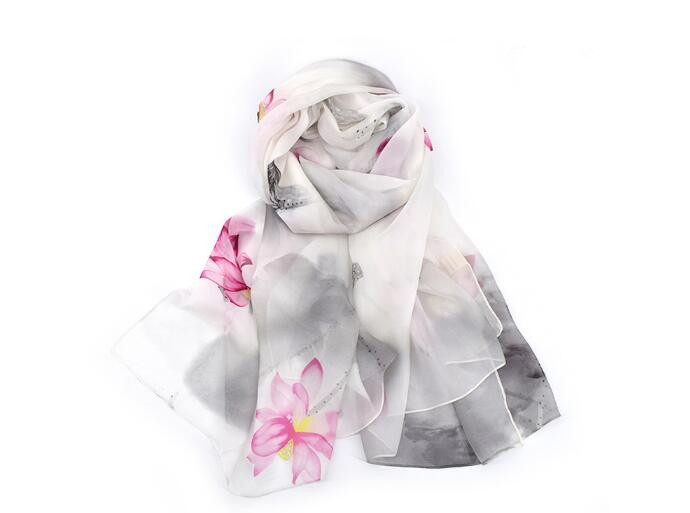 2018 New in 100 silk floral print large scarf for women