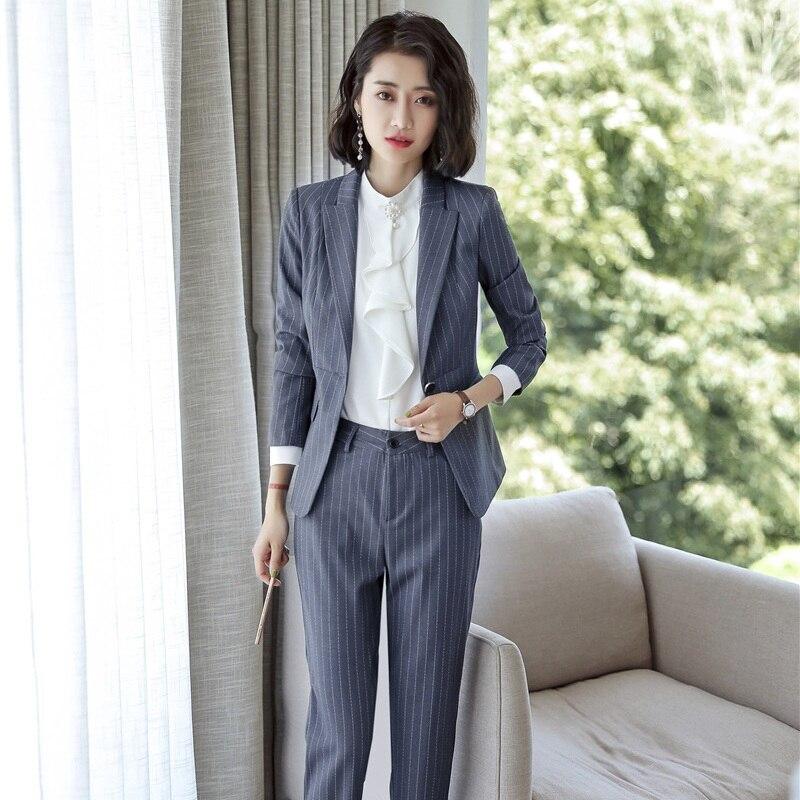 Uniforme Bleu Veste Et De Costumes Ensemble Styles Noir Bureau Travail Vêtements gris Conception Rayé Dames Femmes Noir Pantalons marine Blazer Formelles PRwxB6qB