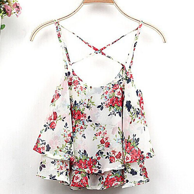 7325bd914b13 4 Colors 2017 Women Summer Clothing Spaghetti Strap Floral Print Chiffon  Shirt Vest Blouses Crop Top-in Blouses & Shirts from Women's Clothing on ...