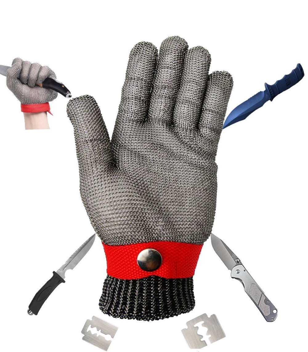 Safety Glove With Buckle Cut Proof Stab Resistant Kitchen Working Red Glove Stainless Steel Metal Mesh Butcher Cutting Size L