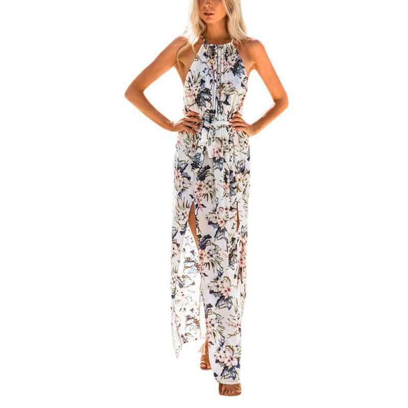 a235f70e2b1c Vacation Stylish Floral Print Backless Split Halter Long Dress Women 2018  Summer Dress Beach Boho Maxi