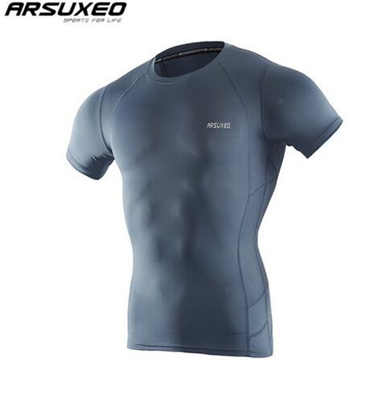 ARSUXEO Mens Compression Shirt Base Layer Running T Shirts Short Sleeves Workout GYM Clothing