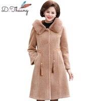Winter Jacket Women 2018 New Mid Long Thicken Fur Collar Female Woolen Coat Plus Size Dark Buckle Hooded Ladies Outerwear Cw368