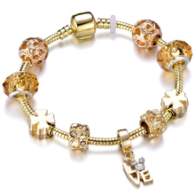 цена Elegant Gold Letter LOVE Pendant Charm Cuff Bracelets Bangle Fashion Crystal Beads Brand Bracelet For Women Girl Jewelry Gift