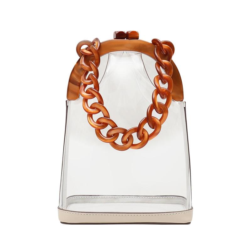 Petits sacs transparents sac de plage d'été en plastique PVC Transparent femmes 2019 chaînes acryliques avec pochette en cuir véritable pour femmes
