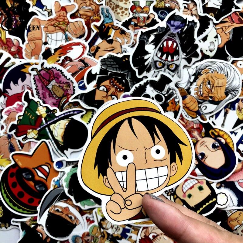 Купить с кэшбэком Hot 60pcs PVC One Piece Stickers Fashion High Quality Waterproof PVC For Suitcase Refrigerator skateboard laptop