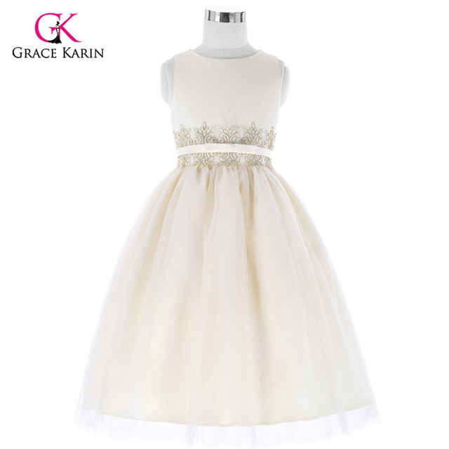 Beige Long Flower Girl Dresses for Wedding Girls Beauty Pageant ...