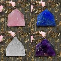 4pcs amethyst, white crystal, pink crystal, lapis lazis, pyramid, home desk decoration healing gift 25mm